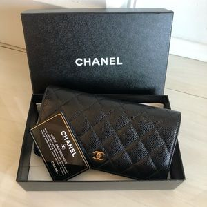 Chanel black Cavier Yen Wallet
